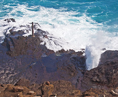From here to eternity... (missnoma) Tags: ocean travel holiday hawaii memorial rocks pacific oahu blowhole stele plinth fromheretoeternity absolutelystunningscapes magicunicornverybest holonablowhole exoticimage stateoftheunionhi