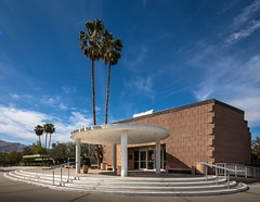Palm Springs City Hall (Chimay Bleue) Tags: california city brick architecture modern clouds de hotel design town hall skies desert steel modernism palm clear southern socal disk springs valley coachella block atomic ville corrugated modernist brutalist midcentury postwar mcm whispy midmod