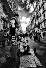 Puppets / Marionetas (pasotraspaso) Tags: madrid street bw photography sadness tristeza spain nikon downtown loneliness marioneta puppet centro bn soledad dramatismo d80 dramatism
