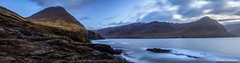 Hellan Panorama (Jannis Srensen) Tags: ocean longexposure sea sky panorama mountains clouds rocks stones pano faroeislands froyar viareii vioy