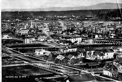 Portland in 1876. (jackonflickr) Tags: houses blackandwhite church oregon river portland historic steeple willamette notmyphoto 1876