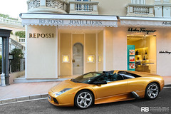 Oro Adonis (Raphal Belly) Tags: paris car de french photography eos gold hotel riviera photographie or casino montecarlo monaco mc belly exotic 7d passion raphael lamborghini rb supercar adonis spotting oro supercars murcilago roadster murcielago v12 raphal principality