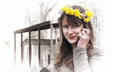 Flower child (beebe_gzb) Tags: flower girl child phone cell dandelion innocence neighbor neybur