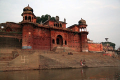 on the banks of the ganges (lethologically) Tags: people india heritage history tourism water sunrise buildings river temple boat asia buddha religion silk places blessing holy varanasi ritual hindu hinduism oldcity ganges sarnath riverbanks ghat holywater northindia historicalsites oldcities heritagesites incredibleindia