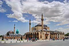 Mevlana (1274) and Sultan Selim Mosque (1587), Konya (Erman Aydoner) Tags: architecture clouds turkey cloudy islam turkiye mosque hdr konya mevlana photomatix