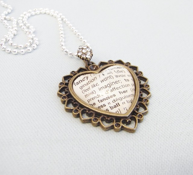 love french necklace heart handmade ooak jewelry valentines romantic etsy dictionary pendant shabbychic upcycled dustteamaustralia shabbychicjewelry