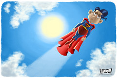 Super, Man (bob canada) Tags: canada illustration photoshop computer painting flying humorous drawing cartoon bob superman comicbook superhero cape illustrator bobcanada