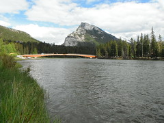 Bridge Walks Series (Mr. Happy Face - Peace :)) Tags: bridge sky cloud mountain canada reflection architecture rockies nationalpark construction parks explore alberta northamerica rockymountains pathway bowriver jimmyb mrhappyface bridgedesign countrysidevillages ourworldphotos
