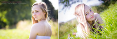 Emma. (Saskia's Photography) Tags: summer sun girl grass sunshine canon germany bokeh blueeyes young blonde shoulder opencountry