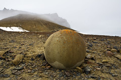 champ island stone sphere (Russell Scott Images) Tags: franzjosefland russianarctic champisland geodes stonespheres russellscottimages