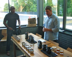 Richard Futrell discusses the coffee characteristics with Josh Dugue (Stylurus) Tags: coffee counter michigan annarbor culture cupping glassbox