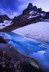 Blue Bardo (Michael Bollino) Tags: blue summer moon mountain snow mountains reflection ice oregon volcano evening twilight alpine cascades pacificnorthwest bluehour crag mountainphotography