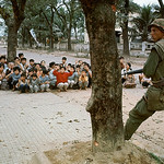 05 Feb 1968, Hue - Driven from their homes during heavy fighting, refugees crouch under a tree while being guarded. thumbnail