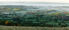 Misty Morning Mendip Panorama (Mukumbura) Tags: uk morning autumn trees light england panorama mist beauty fog sunrise landscape outdoors dawn countryside october scenery somerset hills tranquil priddy somersetlevels peacefulscene mendiphills deerleap welcomeuk