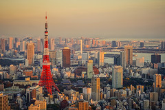 Sunset over Tokyo Tower () Tags: sunset japan skyline night 35mm tokyo tokyotower  fullframe roppongihills  moritower    tokyocityview sonyrx1 sonydscrx1 sonycybershotrx1 rooftopskydeck
