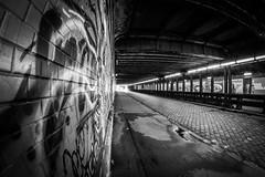 there's a light _217/365_ (Kath_Muc) Tags: street light urban wall munich mnchen graffiti blackwhite wand tunnel fisheye explore architektur 365 mauer unterfhrung underbridge lightattheendofthetunnel schwarzweis 365daysproject 217365