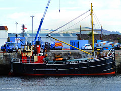 Scotland Greenock Clyde Puffer VIC32 old steam cargo ship being loaded 20 May 2015 by Anne MacKay (Anne MacKay images of interest & wonder) Tags: by anne scotland clyde greenock dock ship may picture cargo steam mackay puffer 20 2015 xs1 vic32