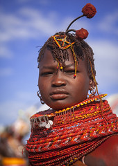 Turkana Tribe Woman With Huge Necklaces And Ear Rings, Turkana Lake, Loiyangalani, Kenya (Eric Lafforgue) Tags: africa red portrait people woman beauty fashion vertical photography necklace women day adult kenya decoration earring tribal jewellery ornament bead tribe youngadult adultsonly oneperson ornement kenyan eastafrica rift braidedhair traditionalclothing realpeople turkana colorimage onewomanonly lookingatcamera ruralscene personalaccessory oneyoungwomanonly nonurbanscene colourimage 1people indigenousculture neckring loiyangalani onlywomen turkanalake nomadicpeople northkenya colourpicture ethnicjewel onewomanonlywoman kenya201407143