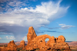 Monsoon clouds, Rainbow and Turret Arch