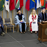 "<b>Commencement_2015_11</b><br/> Commencement speaker Mike Danforth, producer of NPR's hit radio show ""Wait Wait Don't Tell Me"" has the audience rolling in their seats with his witty, yet insightful, commencement address. Photo by Aaron Lurth<a href=""http://farm6.static.flickr.com/5456/18044376142_f0c4eae1b0_o.jpg"" title=""High res"">∝</a>"