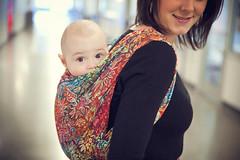 Wrapsody Hybrid Jennifer (wrapsodybaby) Tags: baby back rainbow wrap babywearing sunflowers sunflower carrier carry stretchy