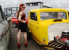 Holly_7271 (Fast an' Bulbous) Tags: girl woman hot hotty sexy chick babe long brunette hair skirt dress high heels stilettos stockings red shoes car vehicle automobile dragstalgia santa pod hotrod england custom outdoor people