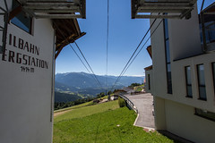- Way Down - (Mr. LookUP) Tags: waydown unique 2016 southtirol italy meransen cablecar symmetric symmetry colourful canon 5d wideangle grass field sky mountain landscape