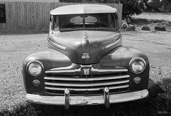 super deluxe... (Stu Bo) Tags: certifiedcarcrazy canon classiccar coolcar canonwarrior retro 1947fordsuperdeluxev8 frontal grill chromeisking ford vintageautomobile dreamforsale worldcars black blackwhitephotos blackandwhite bw monotone oldschool outdoor carspotting