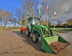 The little tractor. (Barry Miller _ Bazz) Tags: tractor john deere green park widnes hdr canon 5d mark3 sigma 1224 ex dg wide angle cheshire halton flags working gardening autumn trees hsm ii