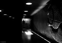 One moment in time (Ren Mollet) Tags: blackandwhite bw monchrom archidektur aarau art dark time renmollet street streetphotography silhouette shadow sbb station olympus penf people passage