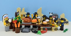 Happy Lego Thanksgiving !!! (Alex THELEGOFAN) Tags: lego legography minifigures minifigure minifig minifigs minifigurine minifigurines thanksgiving food fruits fruit vegetable vegetables dinner meal november watermelon turkey pumpkin tea cup cake fork indian indians cowboy drink cherry cherries far west table chair rock american