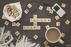 Follow your heart (Ali Llop) Tags: brown letter old black wood text vision white word succes block ideas coffee alphabet music mood top