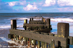 IMG_0936 (taraharris1) Tags: beach beachhut sand sea ocean lighthouse cliff outside landscape nature groyne structure blue norfolk england waves sky day nopeople country