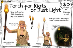 -RC- Torch for Riots or Just Light (-RC- Cluster) Tags: fire flame torch light flashlight torching firey shine indianajones adventure dark darkness halloween spooky cave adventurer temple legends riot angry mad mob pitchfork anger rc reddcolumbia rccluster secondlife sl