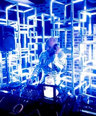 Moby in the Sea of Space (jurvetson) Tags: moby dj sea space hmb half moon bay party octopus symmetry labs alexgreen vj dance silver suit jamming mix light show rave cave