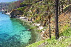 The lagoon is surrounded by rocky shores (Ivanov Andrey) Tags: lake water rock cliff slope shore stone moss pine pinewood wood sand bay surf wave sky cloud horizon sun sunset evening blue skyblue green black trunk branch crown leaf bark rootwood wind coast coastline landscape shade wildlife travel tourism summer north lakebaikal russia