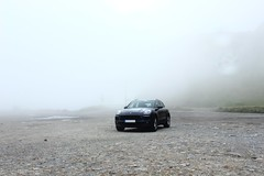 (Nathalie_Désirée) Tags: macan porsche switzerland suisse swiss mountain furka fog car parking mysel myselection