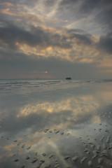 Winter sunset 2 (Andrew Malbon) Tags: leica leicam9 m9 southsea southseacommon solent portsmouth hampshire winter winterlight sunset sun saturday reflections shore shoreline sand clouds summilux 35mmf14 nd lee06ndsoftgrad leendgrad lee handheld rangefinder landscape seascape