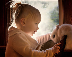 The Arrival (Kathy Macpherson Baca) Tags: explore life children rabbit bunny cute toddler people kids nature young learning portrait love peace understanding baby girl human animal furry planet world earth