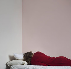 comfortless (Lucy MichaeIa) Tags: simple simplistic minimalist red dress bed lying down walls room colour monochromatic monochrome asleep sleeping girl myself self portrait selfportrait calm sad people scotland human woman comfortless indoor