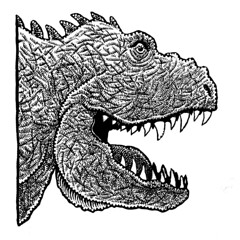t-Rex head (Don Moyer) Tags: trex dinosaur ink drawing sketchbook moyer donmoyer brushpen face creature