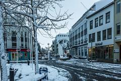 Akureyri Downtown (Einar Schioth) Tags: akureyri winter sky snow canon clouds cloud day downtown house houses shops trees tree stillness photo picture outdoor iceland sland ice mibrinn torgi einarschioth