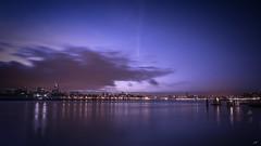 Rotterdam Night Skyline (koolbram) Tags: rotterdam nederland netherlands holland madeinholland dutch europa europe benelux rijnmond maas waterweg triggertrap longexposure long exposure nikon d90 tokina 1116mm skyline sunset night evening blue hour clouds lights