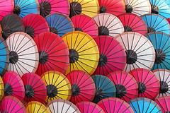 Umbrellas from Laos (Bertrand Linet) Tags: pattern colours couleurs laos umbrellas luangprabang louangprabang bertrandlinet