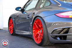 Porsche 911 997 Turbo Grey HRE P40SC Red Tinted Brushed (HRE Wheels) Tags: red 911 turbo porsche tinted concave conical brushed 997 hre p40 p40s p40sc