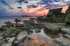 Square Rocks (Bllparkfrank) Tags: sunset sun seascape beach nature water japan clouds landscape shoreline wideangle tropical okinawa hdr photomatix okuma oceanscape sigmalenses