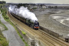 (46233 ) Duchess of Sutherland - Passing Llanfairfechan, North Wales (seentwistle) Tags: castle wales tour conway engine rail steam sutherland railways llandudno duchess llanfairfechan 46233