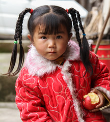A Young Chinese (Han) Girl (**El-Len**) Tags: china red portrait girl braids prc guizhou ethnic han fav10 swchina