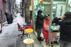 street hairdresser (l.jure) Tags: street back alley hong kong hairdresser kowloon