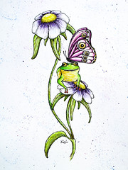 Butterfly and Frog (kimimela-fae) Tags: butterfly watercolor frog micron